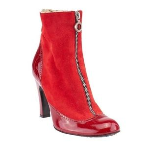 Marc Jacobs Red Suede/Patent Leather Booties